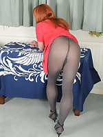 Lucimay lifts up her red dress and shows off her sexy ass before playing with her hard cock.