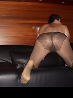 Muscular pantie lover wearing nylon stockings and masturbating
